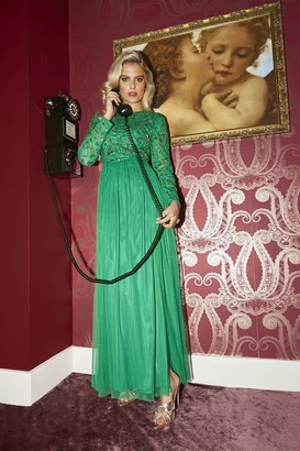 Little Mistress Briella Forest Green Hand-Embellished Maxi Dress