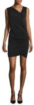 Nicole Miller Jersey Asymmetrical V Neck Sheath Dress