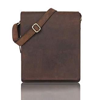 Leaderadjo messenger bag shoulder bag for 13 inch laptop of genuine leather in vintage style for men and women...