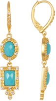 Freida Rothman 14K Gold Plated Sterling Silver CZ Turquoise Stone Dangle Earrings