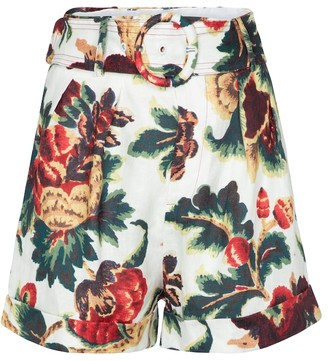 Sir Ambroise belted floral linen shorts