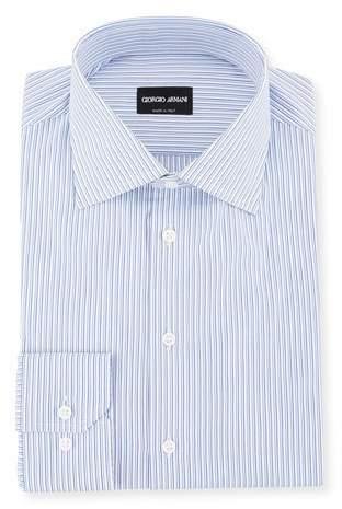 Giorgio Armani Men's Shadow-Striped Cotton Dress Shirt
