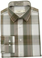 Haggar Men's Fitted Mechanical Stretch Pattern Dress Shirt