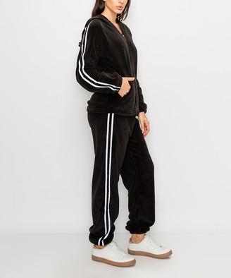 Kimberly C Women's Casual Pants Black - Black & White Double-Stripe Teddy Fleece Zip-Up Hoodie & Joggers - Women