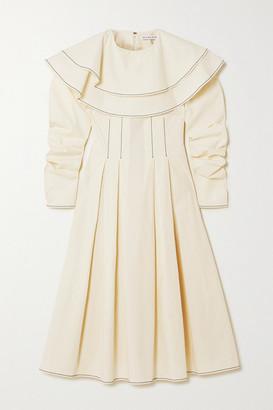 REJINA PYO Faye Ruffled Pleated Cotton Midi Dress - Off-white