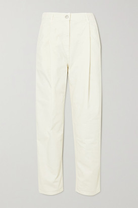 Magda Butrym Pleated High-rise Tapered Jeans - Cream