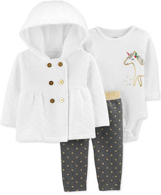 Carter's Carter Baby Girls 3-Pc. Quilted Hoodie, Unicorn-Graphic Bodysuit & Dot-Print Pants Set
