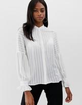 Y.A.S stripe frill cuff shirt