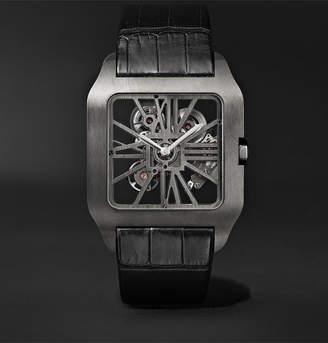 Cartier Santos-Dumont Skeleton 43.3mm Adlc-Coated Titanium And Alligator Watch