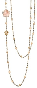 Pasquale Bruni 18K Rose Gold Bon Ton Floral Rose Quartz & Diamond Necklace, 40