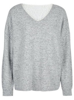 Dorothy Perkins Womens Grey Brushed Lace Back Jumper, Grey