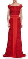J. Mendel Off-Shoulder Lace Combo Gown, Rouge