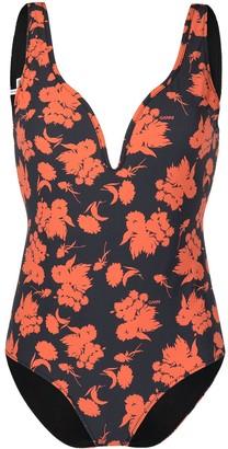 Ganni floral print V-neck swimsuit