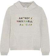Anthony Vaccarello Appliquéd Cotton-blend Jersey Hooded Top - Gray