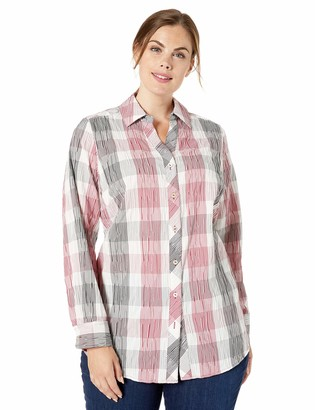 Foxcroft Plus Size Womens Faith Buffalo Plaid Crinkle Tunic