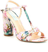 Betsey Johnson Blue by Luisa Satin Floral Print T-Strap Block Heel Dress Sandals