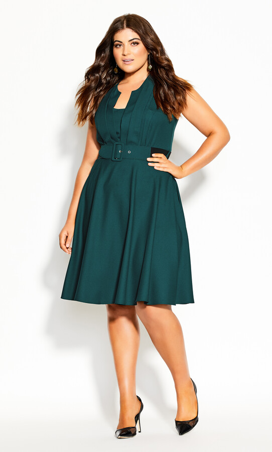 Thumbnail for your product : City Chic Vintage Veronica Dress - sea green