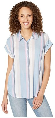 Vince Camuto Short Sleeve Sunset Stripe Collared Henley Blouse (Monet Lily) Women's Clothing