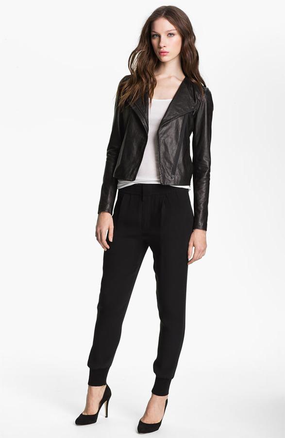 Vince Asymmetrical Zip Leather Jacket
