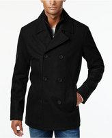Kenneth Cole Men's Robert Pea Coat with Rib-Knit Bib