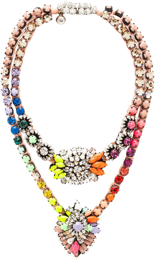 Shourouk Double Cora Zambia Necklace in Rainbow