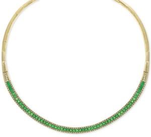"Effy Emerald (8-5/8 ct. t.w.) & Diamond (1-1/5 ct. t.w.) 15-3/4"" Collar Necklace in 14k Gold"