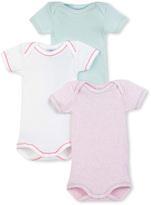Petit Bateau Set of 3 baby girls plain bodysuits