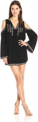 Moon River Women's Velvet Embroidery Cold Shoulder Dress