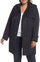 Gallery Plus Size Women's A-Line Swing Raincoat With Detachable Hood & Liner
