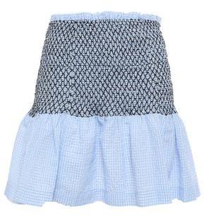 Ganni Serenity Smocked Gingham Cotton-blend Seersucker Mini Skirt