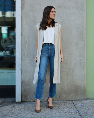 The Drop Women's Natural Oversized Sleeveless Long Linen Jacket by @paolaalberdi M