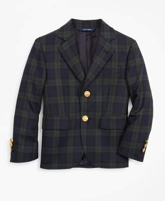 Brooks Brothers Boys Wool-Blend Two-Button Black Watch Plaid Sport Coat