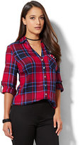 New York & Co. Soho Soft Shirt - Embellished Pocket - Plaid Print