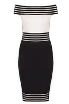 Quiz Black And Cream Bardot Midi Dress