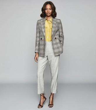 Reiss Esme - Wool Linen Blend Straight Fit Trousers in Light Grey