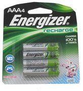 Energizer Products e NiMH Rechargeable Batteries, AAA, 4 Batteries/Pack