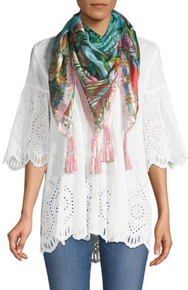 Johnny Was Taina Tassel Floral Silk Scarf