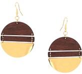 Schiff Marlyn Goldtone & Wood Geo Earrings