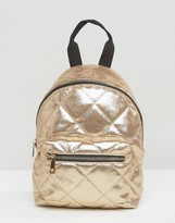 Asos Mini Metallic Quilted Nylon Backpack