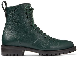 Jimmy Choo CRUZ FLAT Dark Green Grainy Leather Combat Boots