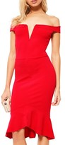 Missguided Women's Bardot Off The Shoulder Sheath Dress