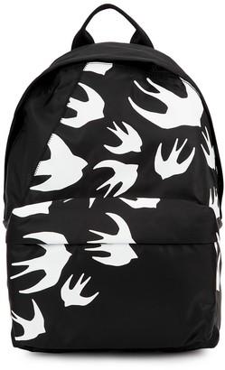 McQ Black swallow-print nylon backpack