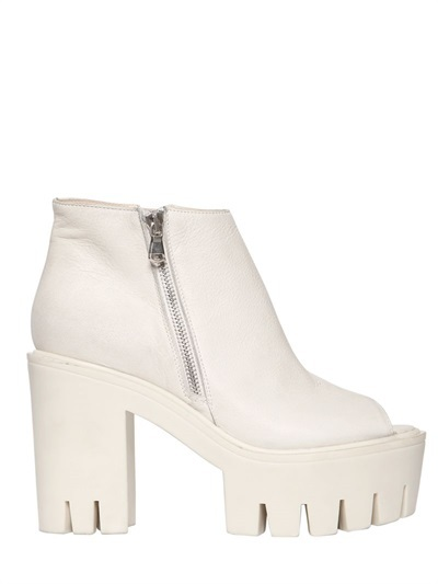 Strategia 110mm Leather Open Toe Ankle Boots
