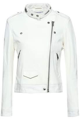 IRO Mazey Distressed Denim-trimmed Leather Biker Jacket