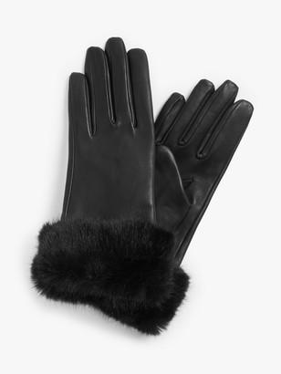 John Lewis & Partners Faux Fur Trim Leather Gloves, Black