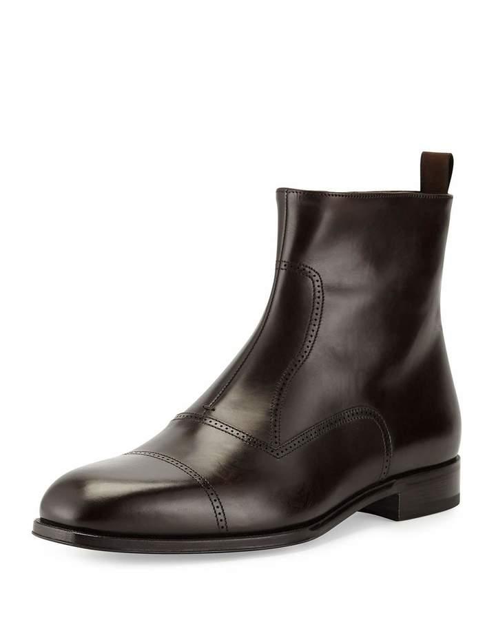 Giorgio Armani Leather Brogue Ankle Boot, Dark Brown