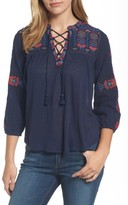 Lucky Brand Women's Embroidered Lace-Up Top
