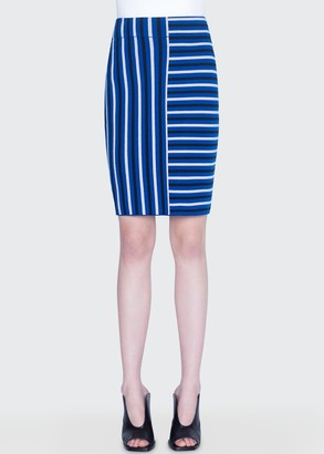 Akris Punto Merino Square-Striped Jacquard Skirt