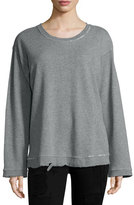RtA Denim Beal Distressed Sweatshirt, Ice/Light Gray