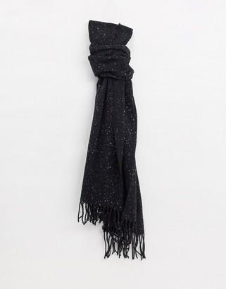 ASOS DESIGN neppy scarf with tassels in black